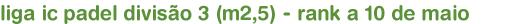 liga ic padel divisão 3 (m2,5) - rank a 10 de maio